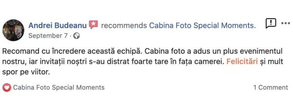 recenzii 5 stele pentru cabina foto special moments din iasi